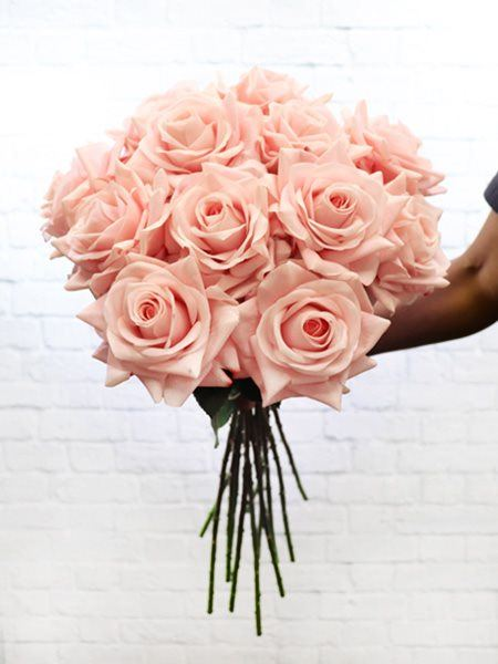 Silk Flowers & Plants: Pink Real Touch Roses x 12